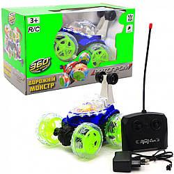 Машинка-перевертиш «Автопром» Дорожній монстр на радіокеруванні, акумулятор, світлові ефекти, синій