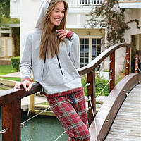 Бордовый хлопковый комплект с брюками EVE FLANNEL PANTS & SWEATSHIRT от CASUAL AVENUE, размер L Old Red - Gray
