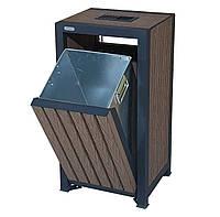 Урна TrendDecor 0123-P, 52л (металл/*дпк доска из древесно-полимерного композита)., фото 1