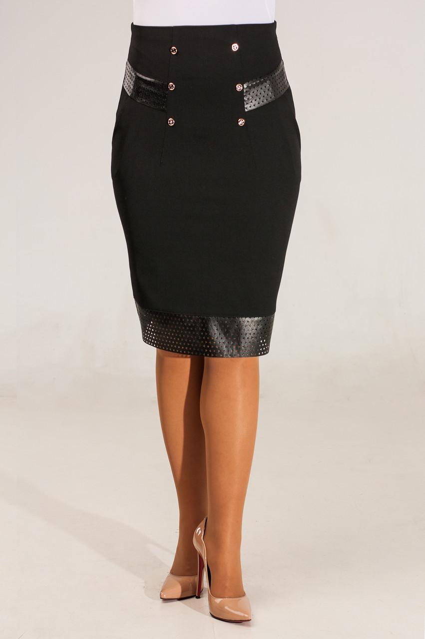 Женская юбка крандаш черного цвета с високой посадкой. Николь