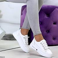 Женские натуральные кроссовки демисезонные, кожаные белые, купить в Украине 38 размер