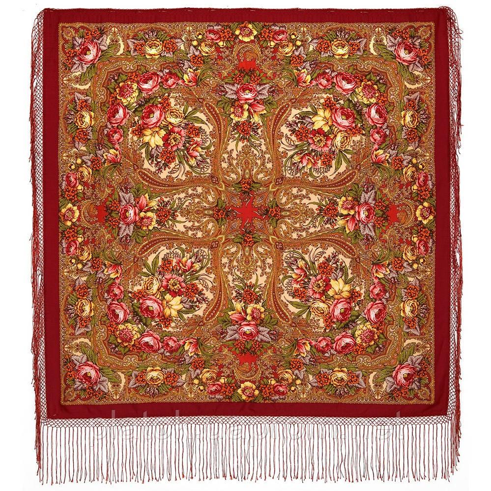 Щасливиця 1122-5, павлопосадская шаль з ущільненої вовни з шовковою бахромою в'язаній