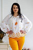 Стильна жіноча біла батистова блуза бохо XL розшита жовтими квітами №761