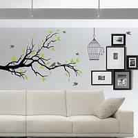 Інтер'єрна наклейка Дерево з птахами і кліткою