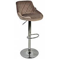 Барный стул со спинкой Bonro B-801B велюр коричневый регулируемый стульчик кресло для кухни, барной стойки