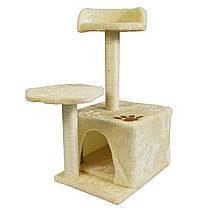 Когтеточка для кішок з будиночком і лежанкою (бежева)