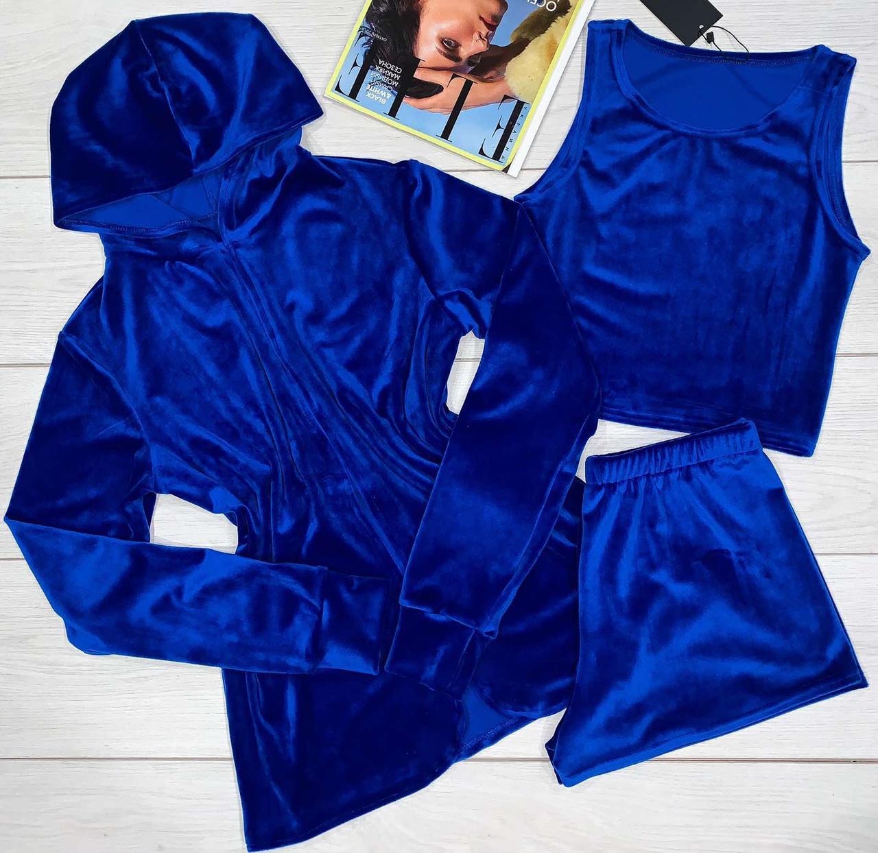 Женская накидка-кардиган + майка-шорты. Комплект из плюшевого велюра.
