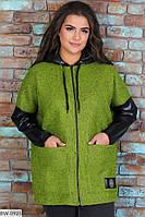 Женская Куртка Батал с букле Бордо, Красный, Зелёный