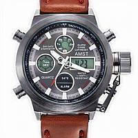 Годинник AMST Watch чорний і коричневий