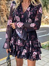 Шифоновое платье с розами Турция