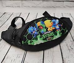 Brawl stars детская сумка бананка на пояс бравл старс Леон зелёный 4 скина плотная нейлон