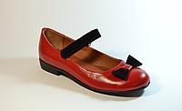 Туфли для девочек красные кожаные с ремешком на липучке 332101