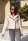 Брендовая укороченная курточка-косуха для девушек модель весна 2021 - (кт-149), фото 4