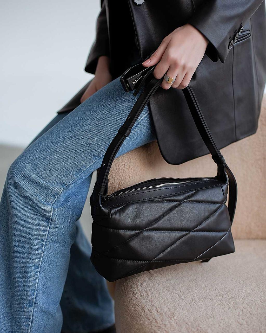 Женская черная сумочка! Сумка-багет 64104 клатч с ручкой через плечо