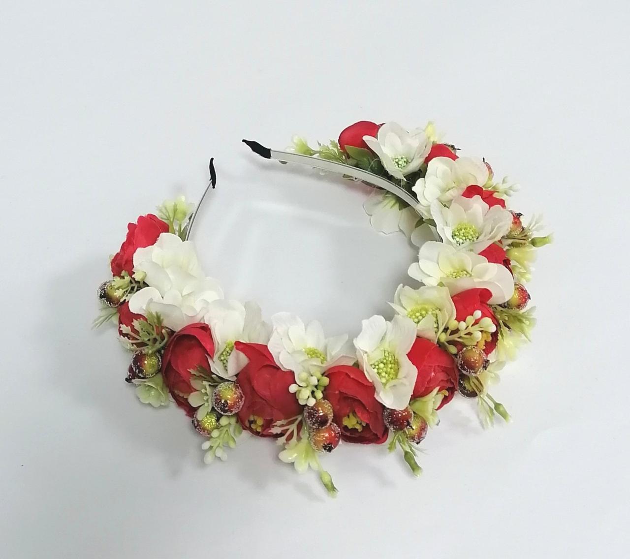 Віночок з квітів Волинські візерунки молочно-червоний