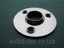 Нержавеющее круглое основание для приварки релинговой стойки под углом 90*