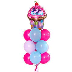 """Связка шариков с кексом """"Happy Birthday"""" в розово-голубых оттенках"""