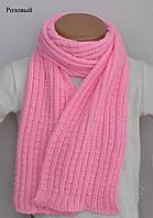 Шарф ПШ. 128х14 см. Белый, розовый, св.малина, синий, сред.серый, голубой, фото 1
