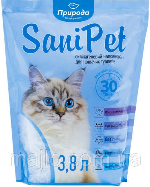 Наполнитель для кошачьего туалета Природа Sani Pet Силикагелевый впитыващий 1.7 кг (3.8 л) (4823082402663)