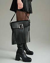 Сумка-клатч з бахромою! Жіноча чорна сумочка 63604 з ручкою і довгим ремінцем через плече