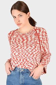 Свитер женский вязанный бело-розовый размер 44-46 AAA 128390P