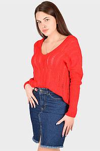 Свитер женский вязанный красный размер 46 AAA 128407P