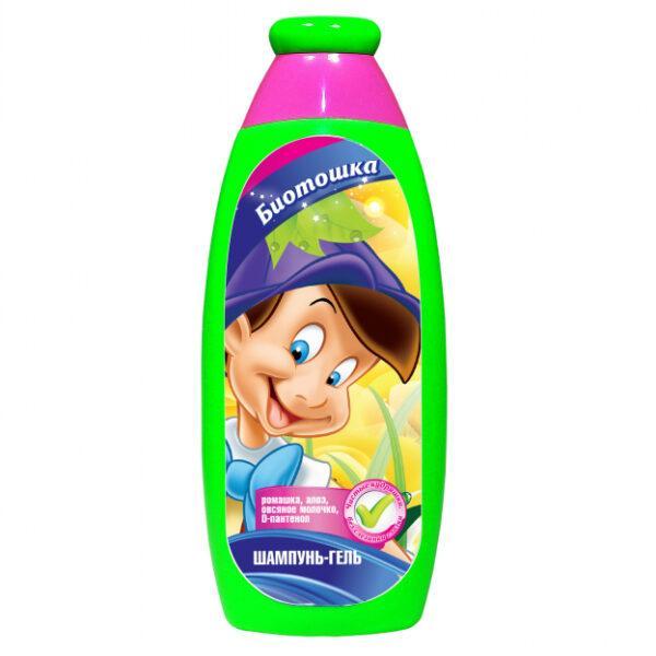 Детский шампунь-гель Bioton Биотон Биотошка с ромашкой, алоэ, овсяным молочком, D-пантенол, 250мл