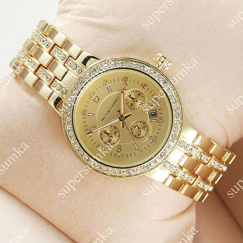 Модные наручные часы Michael Kors Diamonds Chronograph Gold 1617