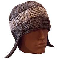 Мужская вязаная зимняя шапка-ушанка цвета маренго