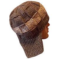 Мужская вязаная зимняя шапка - ушанка цвета маренго