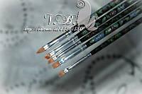 Набор кистей для дизайна и китайской росписи(нейлон) 5 шт. цветная ручка,черная.