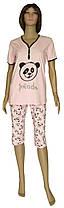 Пижама женская трикотажная, футболка и бриджи 21010 Panda стрейч-коттон Розовая