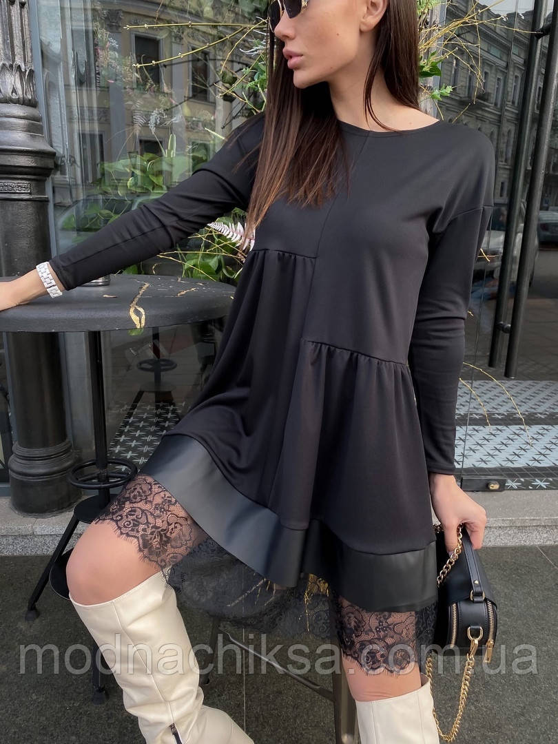 Женское платье-разлетайка свободного кроя