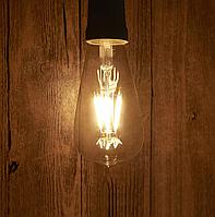 Винтажная LED ретро лампа Horoz ST64, 4W, лампа Эдисона, 2700K, светодиодная, энергосберегающая