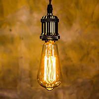 Винтажная ретро лампа Horoz ST64, Декоративная лампа накаливания, 40W, E27, Лампа Эдисона