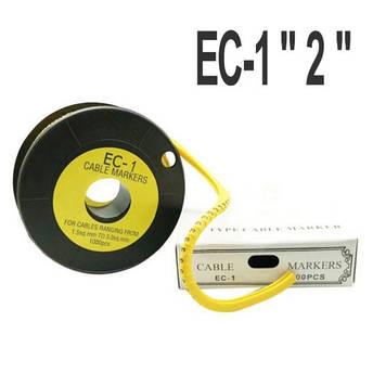 """Кабельна маркування (в котушках) EC-1 """"2"""" (1.5-4мм2) 1000шт, фото 2"""