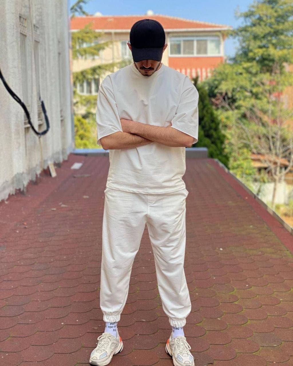Чоловічий спортивний костюм футболка+штаны світлий беж оверсайз