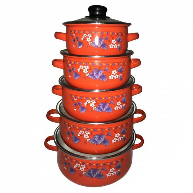 Набор эмалированных кастрюль UNIQUE UN-2356 (10 предметов) с нержавеющей стали, красный (MX11386)
