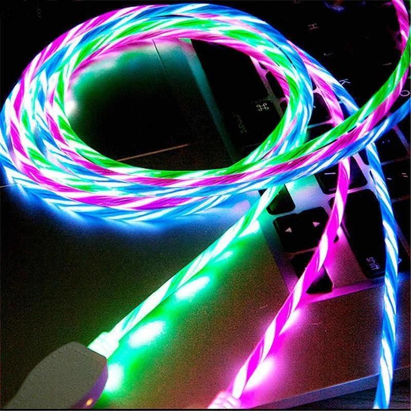 Кабель micro USB с неоновой подсветкой 2А, 1м - высокое качество - белый