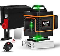 Лазерный уровень Hilda 4D ЗЕЛЕНЫЙ ЛУЧ лазерный нивелир 16 линий 360 градусов