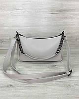 Сіра маленька сумочка! Жіноча сумка-клатч 62221 через плече крос-боді, фото 1