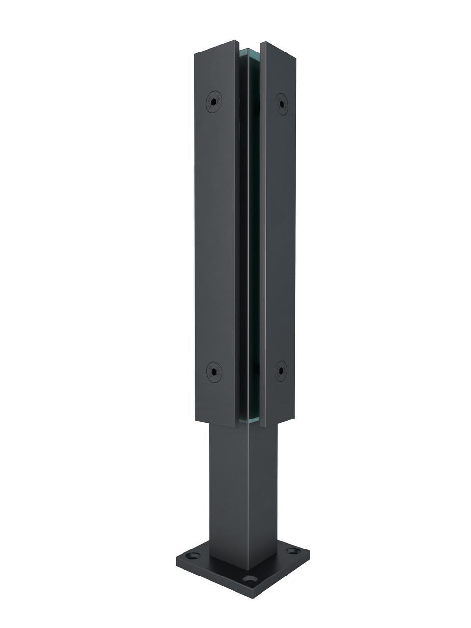 ODF-02-12-21-H400 Стійка для скла кутова з притискною пластиною для огорож з скла і скляних перил