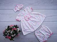 """Дитяче плаття """"Амелі""""(+пов'язка і трусики) ріст 74-80 і 86-92 см"""