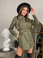 Стильное повседневное женское платье-рубашка из плотного коттона