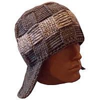Мужская вязаная зимняя шапка - ушанка (утепленный вариант) цвета маренго