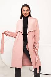 Женское розовое кашемировое пальто на запах с поясом батал
