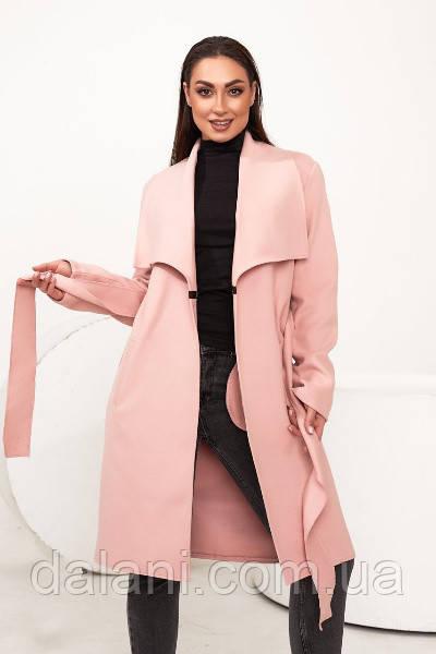 Жіноче рожеве кашемірове пальто на запах з поясом батал