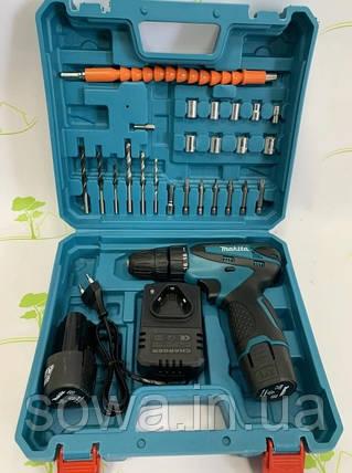 Акумуляторний шуруповерт Makita DF330D + набір інструментів : 12V : 2A.h, фото 2