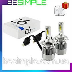 Комплект автомобільних LED ламп C6 H4 / Світлодіодні лампи + Подарунок Навушники