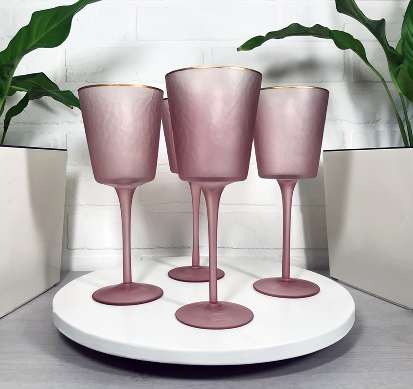 Фужери з кольорового скла рожеві Пінк Леді OLENS 350мл 4шт